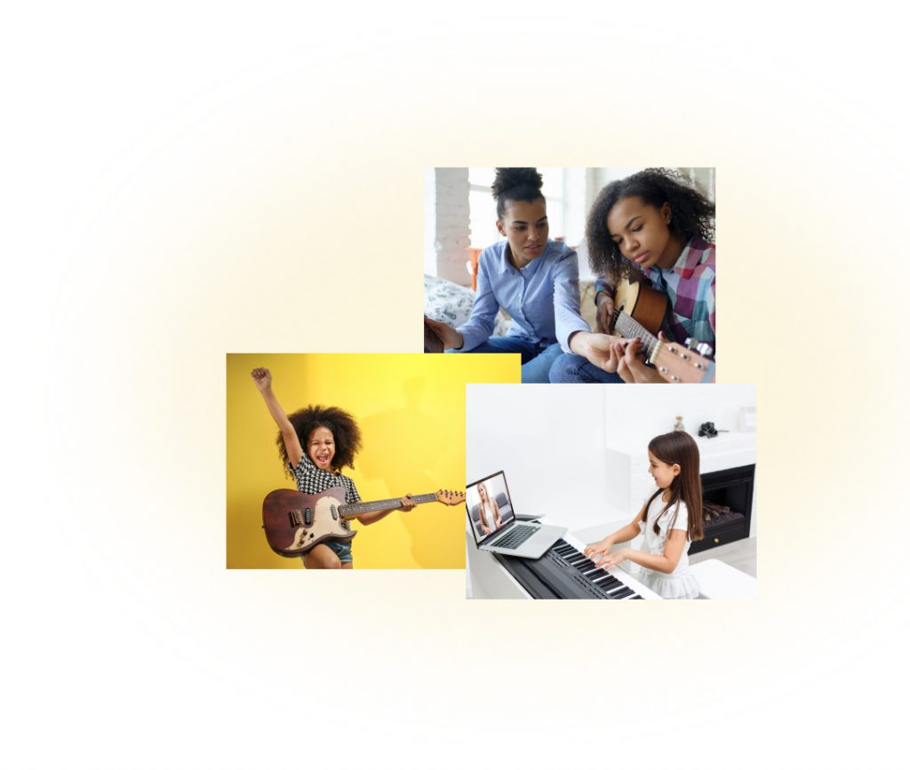 A group of kids learning to play instruments